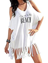 05e74878b8 Womens Tassel Light Coat Swimwear Bikini Long Cover up,Summer Casual Cold  Shoulder Kimono Tops