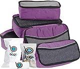 Packwürfel 5pcs Wert Set für Reisen - Plus 6pcs Gepäck Veranstalter Zip Beutel (Purple)
