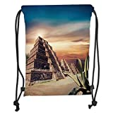 DANCENLI Drawstring Sack Backpacks Bags,Mesoamerican Decor,Aztec Pyramid at Sunset Dramatic Sky Staircase Tourist Old Ruins Architecture Landscape, Soft Satin,5 Liter Capacity,Adjustable String