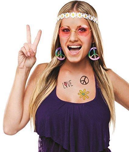 Damen 1960s Jahre Hippy Stirnband Brillen Ohrring Kostüm Kleid Outfit Zubehör Set