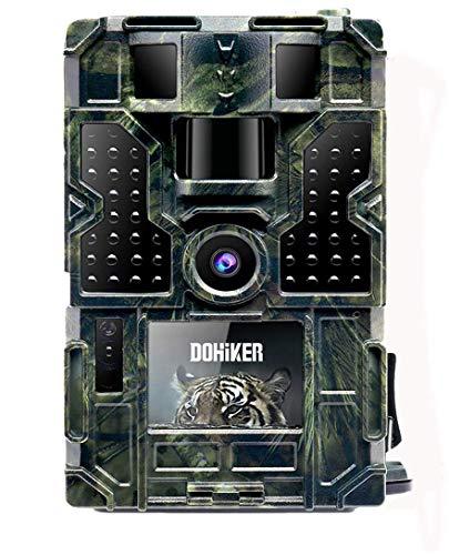 Dohiker Caméra de Chasse Caméra Surveillance 16MP 1080P IP55 Vision Nocturne Infrarouge Grand Angle 120° Détecteur de MouvementJusqu'à 65FT/20m