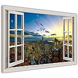 """Ciudad de Nueva York Atardecer Rascacielos con efecto de Bahía de ventana 3d cuadros en lienzo moderno arte de la pared enmarcado Impresiones, lona madera, 04- 30"""" X 20"""" (76CM X 50CM)"""