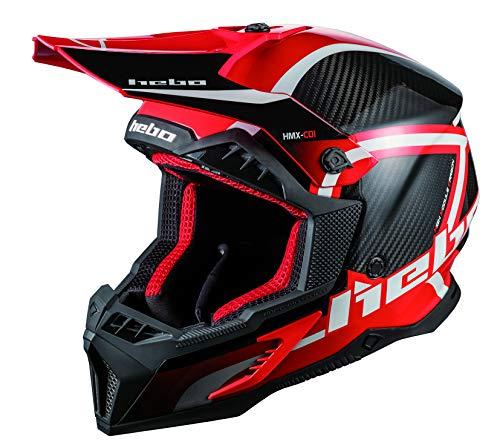 HEBO MX Legend Carbon Enduro Helm, Erwachsene, Unisex, Rot, M