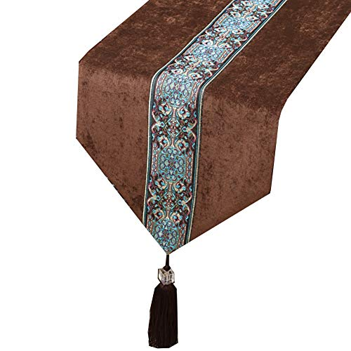 Wge runner squisito runner, runner letto, tovaglie, grande per legno agriturismo table decor, velvet (color : brown, size : 33×150cm)