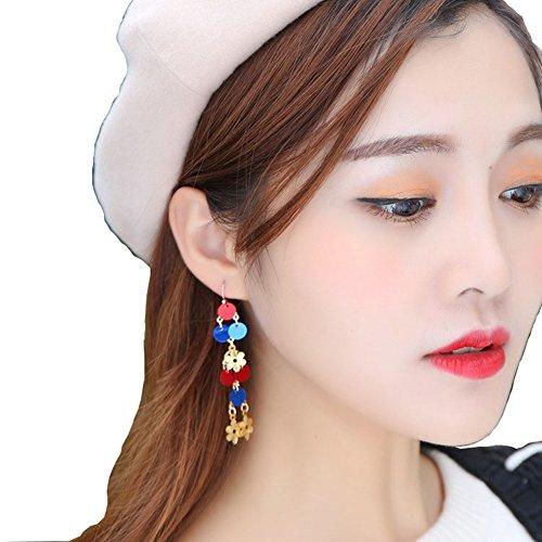 Donne lucido circolare paillettes orecchino retro lungo nappe goccia ciondola gioielli di fidanzamento o matrimonio ear line e lega, cod. py0042