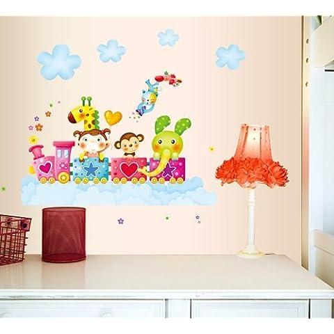 OneHouse Bambina elefante scimmia giraffa in treno per la cameretta dei bambini decorazione da parete Cloud adesivo da parete - Scimmia Treno