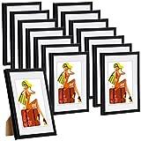 WOLTU #315 Bilderrahmen Bildergalerie Fotogalerie mit Passepartout, Foto Collage Galerie, Kunststoff und Echtglas, New Life Style, Schwarz, 15x20 cm, 15er Set