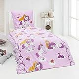 Dreamhome24 100% Baumwolle Fein Biber Bettwäsche Mädchen Einhorn Prinzessin Pony 135x200, Designe:Prinzessin-Einhorn