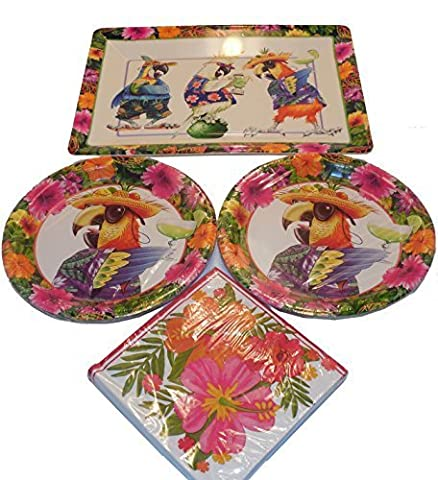 Party Parrot Paper Product Snack Bundle - 1 Party Parrot Snack Tray, 16 Dinner Plates, 20 Napkins by Creative Expressions