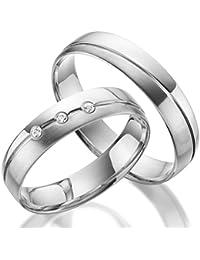 925 Silber Trauringe im Paar inklusive Gravur und Stein