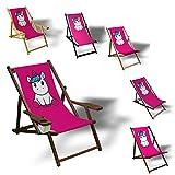 Printalio Pink Einhorn - Liegestuhl Bedruckt Balkon Garten Sonnenliege Relax Holz Terrasse | mit Armlehne, Natur