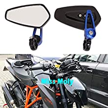 """Motorcycle Bar End Side Mirrors 7/8"""" 22mm Aluminum Alloy Handlebar Rearview Mirrors for Scooter Cruiser Sport Bike (Blue)"""