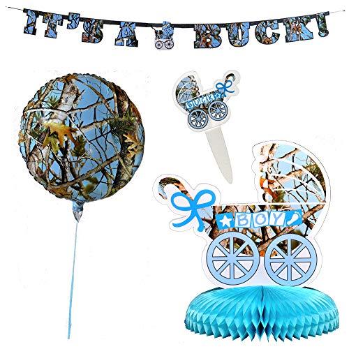 Havercamp hellblaues Camo Baby Boy Bundle Banner, Tafelaufsatz, Party-Picks, Luftballons, ideal für Gender Reveal Party, Babyparty (Baby-camo-dusche Dekorationen)