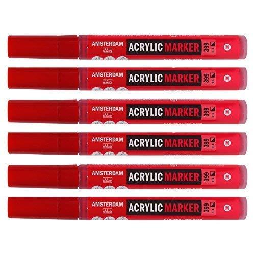 Royal Talens-Amsterdam Acryl Paint Marker, Medium 3-4mm Tipp-Komplette Reihe 46Vibrant Farben erhältlich, 12Stück Marker Stifte - Napthole Red - Amsterdam-reihe