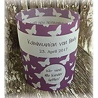 4er Set Tischlicht Tischlichter Kommunion Konfirmation Jugendweihe Taufe Schmetterlinge Deko Tischdeko personalisierbar lila violett