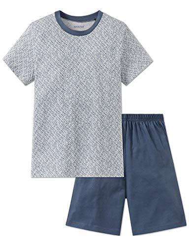 Schiesser Jungen Zweiteiliger Schlafanzug Anzug kurz Grau-Mel. 202, 152 (Herstellergröße: S)