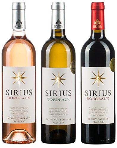 Sirius Bordeaux Wein-Set, Rosé, Weiß und Rot 3er Set (3 x 0.75 l)