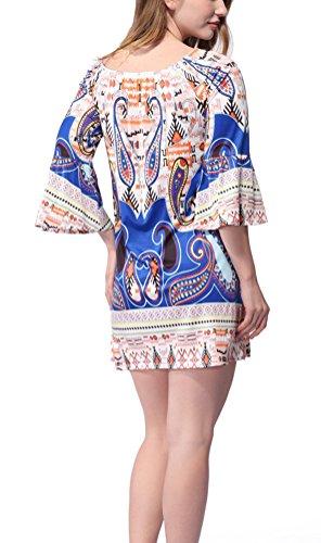 SMITHROAD Damen Minikleid mit Muster Boho Tunika 3/4 Arm mit Stretch Bunt 26