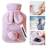 Hot Water Bag,Rabbit Hot Water Bottles with Fleece Covers for Pain Relief