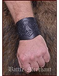 Manches en cuir, avec Marteau de thor, court - Bracelet Manchettes de bras Viking LARP Moyen-âge