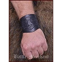 Guardabrazos de cuero, con Martillo de thor, corta - Pulsera Puños de brazo Vikingo LARP Edad media - Marrón