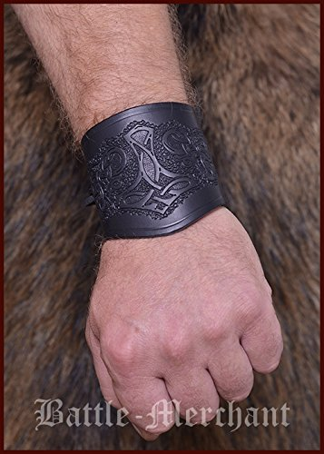 leather-arm-protectors-with-thors-hammer-short-sleeves-bracelet-larp-viking-medieval-brown