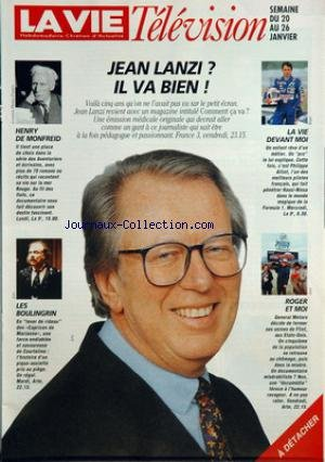 VIE TELEVISION (LA) du 20-01-1996 jean lanzi il va bien henry de monfreid les boulingrin la vie devant moi roger et moi
