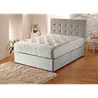 Sleep Factory Ltd Plush Velvet Divan Bed Set with Orthopaedic Mattress,Headboard and 2 Free Bed Drawers, 3FT Single (90cm by 190cm)