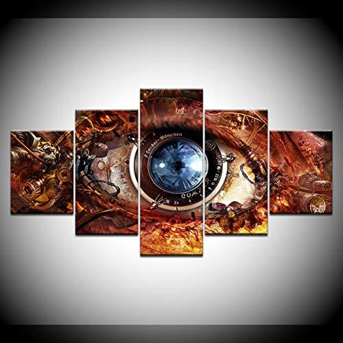 YMSNBH Leinwand Malerei abstrakte Brille futuristische Sci-Fi 5 Wandmalerei modulare Tapete Poster drucken Indoor, kein Rahmen, 20X35 20X45 20X55Cm