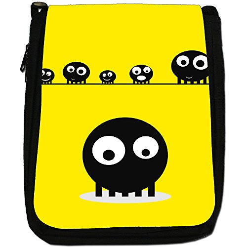 Blob Faces-Borsa a tracolla in tela, colore: nero, taglia: M Nero (Yellow Blob Faces)