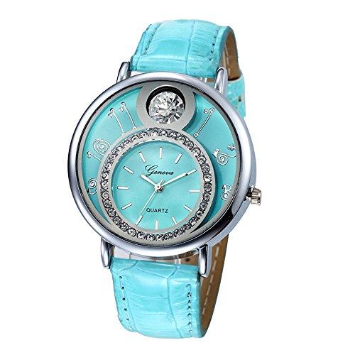 Swallowuk Damen-Diamant-Uhr, Herren Outdoor-Sport-Quarzuhr (Himmelblau)