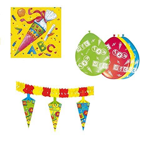 Partyset Dekoration Einschulung Schulanfang Schulstart 8 Luftballons 1 Girlande 20 Servietten33x33cm
