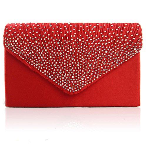 Zarla grande, da donna, per abiti da sera, da donna, con borsa per feste con busta, motivo: Sera Rosso (rosso)