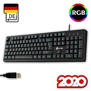 KLIM Bolt – Gaming Tastatur + Schneller und präziser Anschlag + Hinterleuchtete RGB Tastatur mit Multimedia-Steuerung + 7 Farben und 3 Effekte + Kompatibel mit PC PS4 Xbox One + Schwarz + NEU 2020