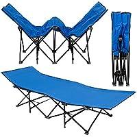 AMANKA lettino da campeggio per abbronzarsi branda brandina letto da campo   struttura in acciao pieghevole 10 gambe   ca 190x70cm   Azzurro