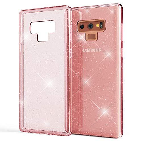 Bling Handy (NALIA Glitter Hülle kompatibel mit Samsung Galaxy Note 9, Glitzer Handyhülle Ultra-Slim Silikon Case Cover Schutzhülle, Bling Handy-Tasche Bumper, Dünnes Strass Phone Backcover, Farbe:Pink)