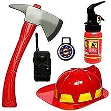BEETEST 5 piezas Bebés niños bombero equipo bombero traje papel juego juguetes de los niños con casco y accesorios