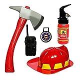 5 Pezzi Pompiere Giocattolo, Vococal Bambini Pompiere Equipaggiamento Pompiere Costume Giochi di ruolo Giocattoli con casco e accessori