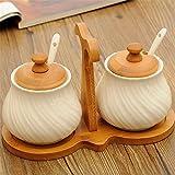 Spice Jar Creativity Keramik Continental Pure White Holz Halterung Condiments Dosen Gewürz Flasche Canned Food Kochen und Essen -250ml