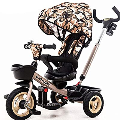 JYY 4 in 1 Trike Baby Tricycle for 6 Months to 5 Years Kids Buggy Stroller with Reversible Seat/Reclining Backrest,Brown-87 * 59cm