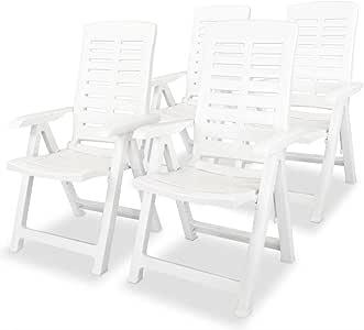 Tidyard 4 pcs Chaise Inclinable de Réglables et Pliable pour Jardin ou Patio 60x61x108 cm Plastique Blanc