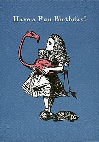 Alice in Wonderland Flamingo Have a Fun Birthday carte de voeux