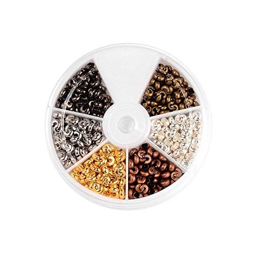 nbeads 1 Box / 450 Stück Crimp Perlen Quetschperlen Lose Perlen Spacer Schmuckherstellung Ende Kappe, Nickel Frei -