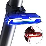 SODIAL Fahrrad Ruecklicht Ultrahelles Fahrrad Licht USB Wiederaufladbare LED Fahrrad Ruecklicht 5 Lichter Mode Scheinwerfer mit rot + blau