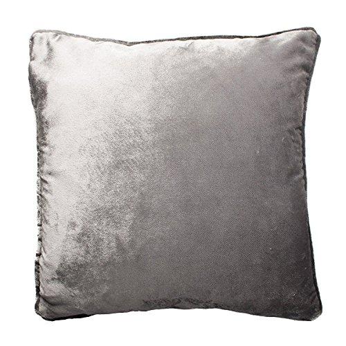 McAlister Textiles Luxury Kollektion | Glänzender Samt Kissenbezug | 40cm x 40cm in Silbergrau | Deko Kissenhülle für Sofa, Couch, Sessel, Kissen in luxuriösem Designer Plüsch