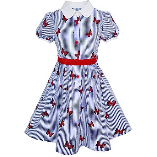 Mädchen Kleid Schule Uniform Blau Isolieren Sie Schmetterling Drucken Gingham Gr. 122