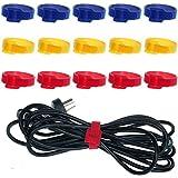HIMRY® [paquete de 15 piezas] Cable de suave velcro Bridas sujeta cables con orificio, 18cm x 1,2cm, con orificio, Tidy velcro Re-reutilizable, tiras de Velcro para Cable organizador, 5x azul, 5x amarillo, 5x rojo, KXB5024 bunt