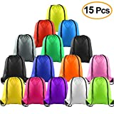FEPITO 15 Pcs Poliestere con coulisse Zaino Borsa Sacco Pack Cinch Tote for Kids Gym Travelling