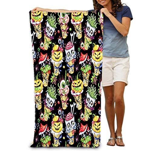 Adult Microfiber Towel 31 X 51 Inch Bath Sheet Watercolor Cartoon Cones Skulls Pumpkins Eyes amanitas Halloween Holiday Funny Ice Cream Watermark ()