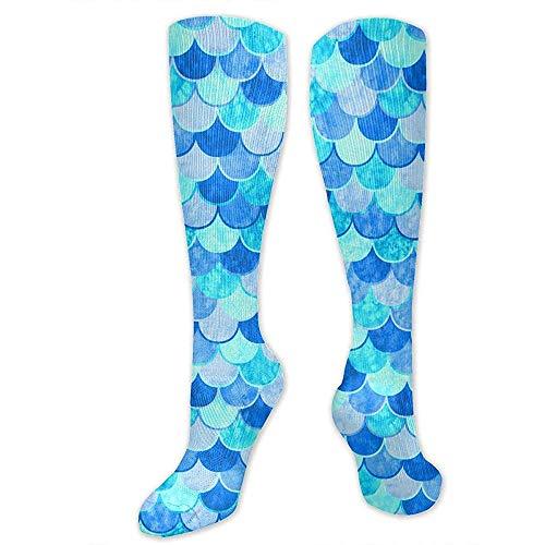 PPPPPRussell Socks Kompressionssocken für Frauen Männer - Bester Strumpf für Reisen, Mutterschaft, Laufen, Sport, Krampfadern - Sky Blue Mermaid Fish Scale